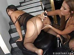 Aphrodisiac asian Bailey take amatory apologize there in fishnet pantyhose