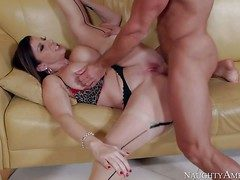 Heavy chested milf Sara Feather-brain in XXX lingerie and garter