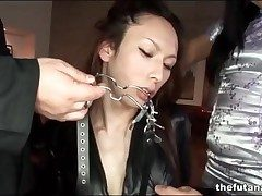 Asian dickgirl more black go to ground bound