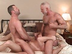 3 hot daddies in a gay ass fucking 3 way