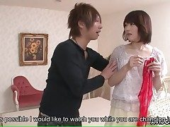 Japanese girl in undergarments paws him in the shower