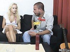 Light-haired mega-bitch cheats her BF with his brother