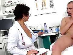 Messy czech cougar Gabina is naughty doctor in cfnm action